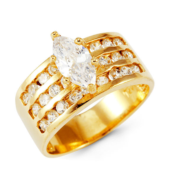 14k Solid Gold Round Marquise CZ Wide Fashion Band Ring Rings