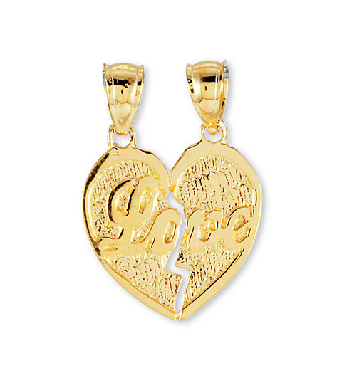 Solid 14k yellow gold modern love split heart pendant pendants warm your hearts aloadofball Choice Image