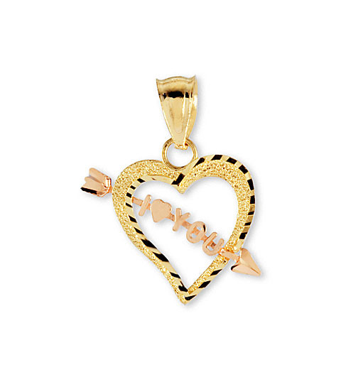 14k yellow rose gold arrow i heart love you pendant pendants fall mozeypictures Image collections