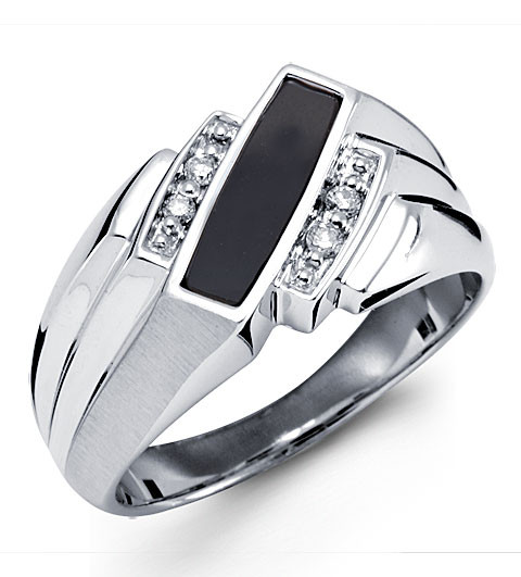 New Solid 10k White Gold Black Onyx Diamond Mens Ring Mens Rings