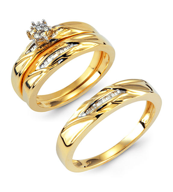 14k Solid Gold Round Baguette Diamond Wedding Ring Set