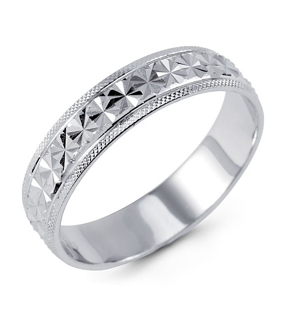 Solid 925 Sterling Silver Diamond Cut Wedding Band Ring Bridal Jewelry