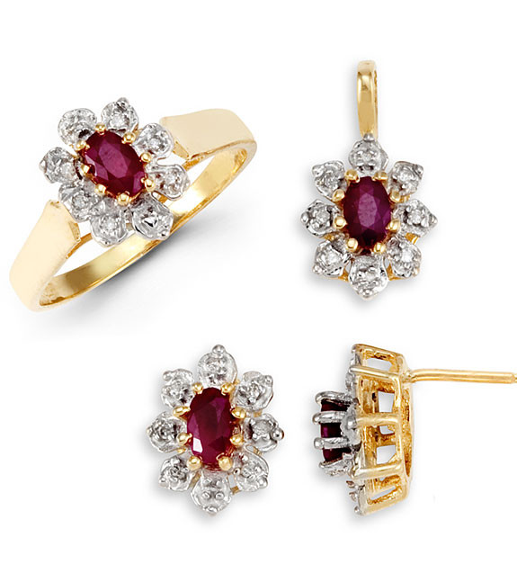 14k Yellow Gold Garnet Round Diamond Ring Earrings Set