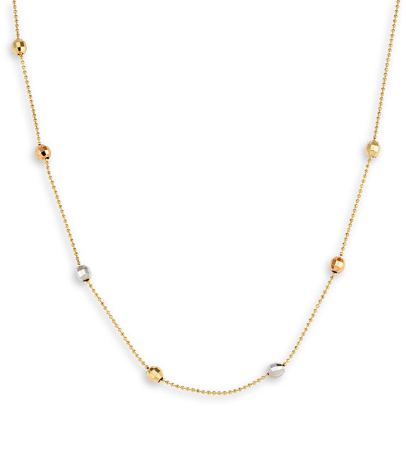 14k Yellow White Rose Gold Ball Bead Chain Necklace 1mm