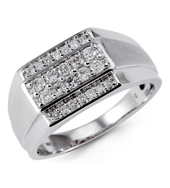 Mens Solid 10k White Gold 065 Ct Round Diamond Ring Mens Rings