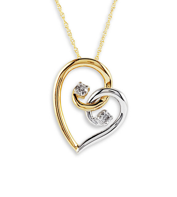 10k yellow white gold 2 round diamond heart necklace pendants speak the language of love with this amazing heart pendant mozeypictures Images