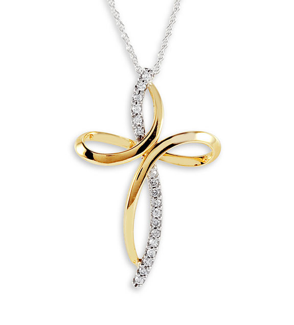 chains stylish cross diamond round white gold cut in brilliant a necklace