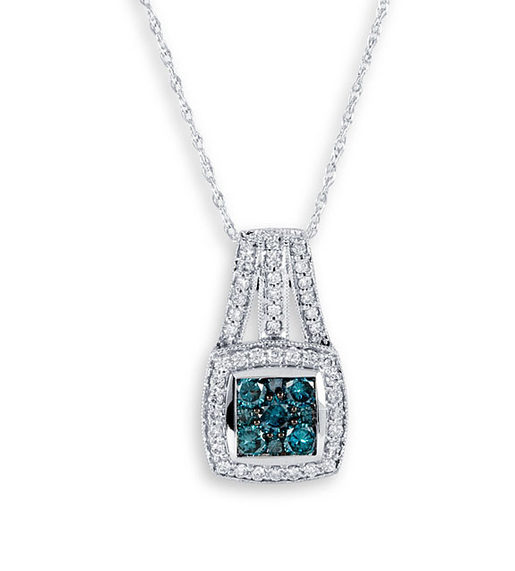 New 14k white gold blue 1ct diamond pendant necklace pendants new 14k white gold blue 1ct diamond pendant necklace aloadofball Image collections
