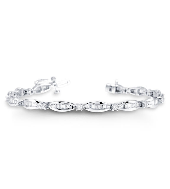 New 14k White Gold Round Baguette 2ct Diamond Bracelet Diamond