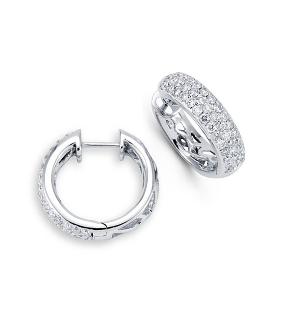 New 14k White Gold 1 12ct Diamond Hinged Hoop Earrings