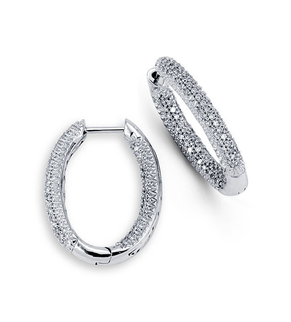 New Solid 14k White Gold 0 75ct Diamond Hoop Earrings