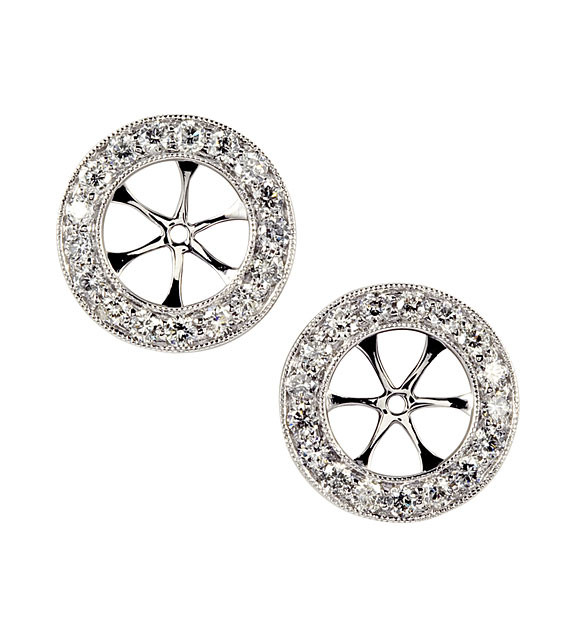 14k White Gold Fire Diamond Round Stud Earring Jackets