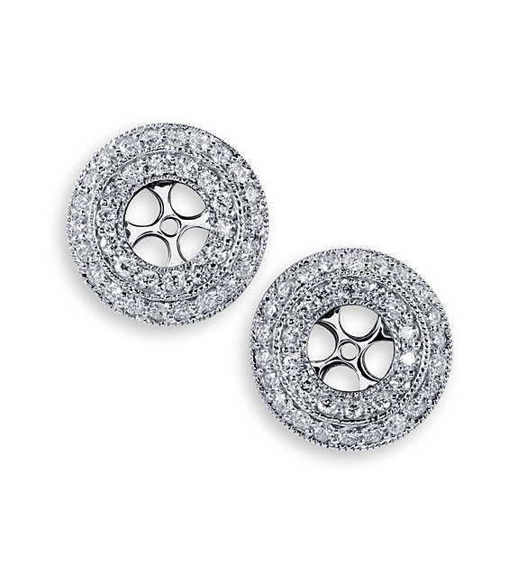 14k White Gold Circle 1ct Diamond Stud Earring Jackets