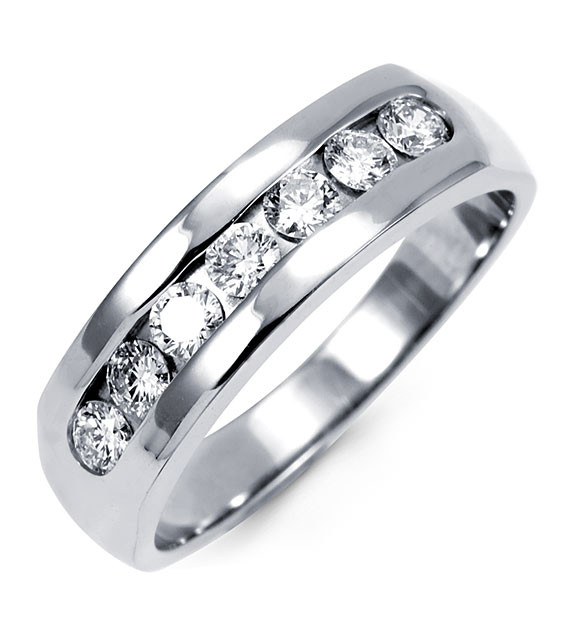 14k White Gold Mens Diamond Channel Set Wedding Ring Wedding Bands