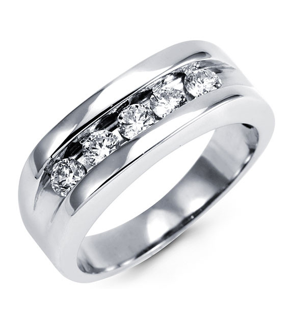 Mens 14k White Gold Diamond Channel Set Wedding Ring Wedding Bands