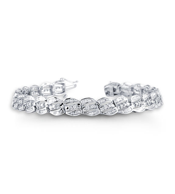 14K White Gold Round Baguette Diamond Tennis Bracelet Diamond