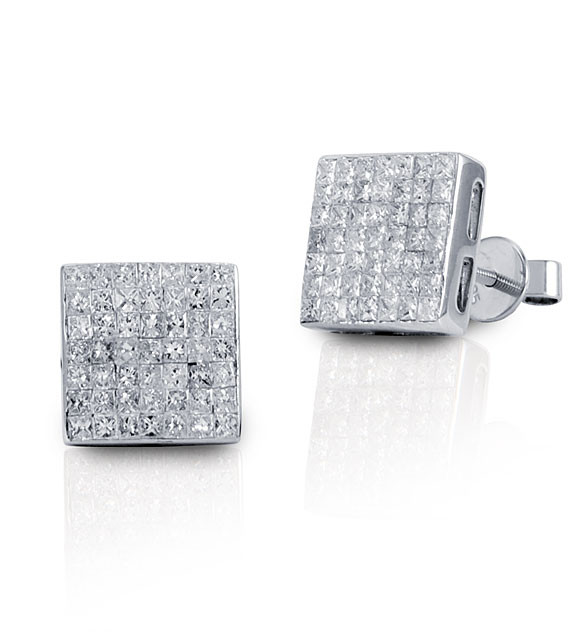 New 14k White Gold Princess Cut Diamond Square Earrings