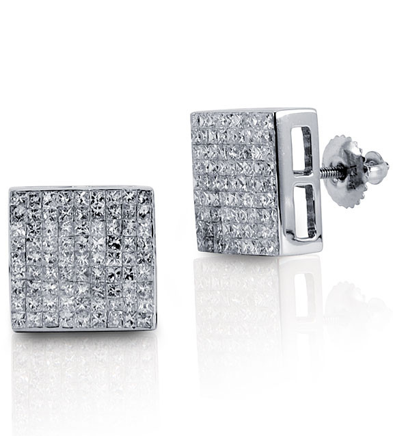 14k White Gold Square Princess Cut Diamond Earrings