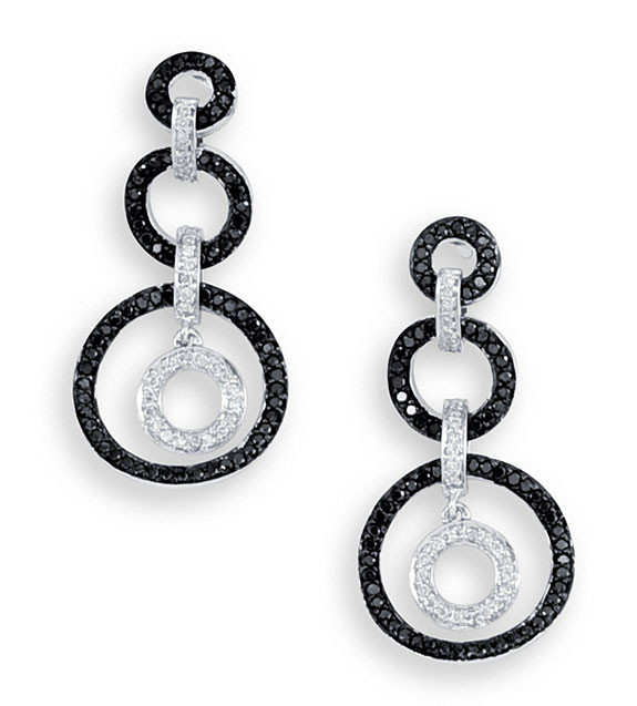New 14k Gold Black White Diamond Circle Dangle Earrings Diamond