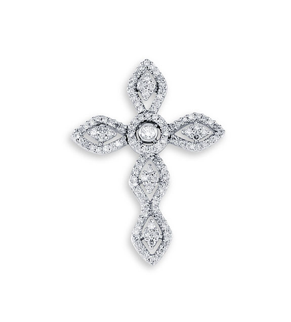 New 14k white gold diamond filigree cross charm pendant flower celebrate fashion fantasy with this diamond filigree cross charm aloadofball Choice Image