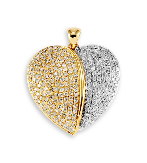 New 14k yellow white gold diamond puffed heart pendant pendants this aloadofball Images