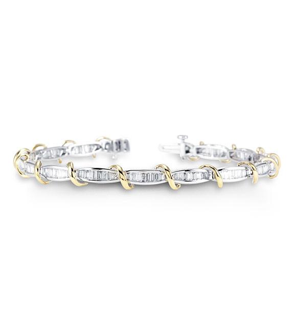 14k White Yellow Gold 2ct Baguette Diamond Bracelet Diamond