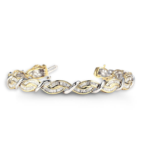New 14k Two Tone Gold 2ct Baguette Diamond Bracelet Diamond