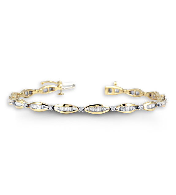 New 14k Yellow Gold Round Baguette 1ct Diamond Bracelet Diamond
