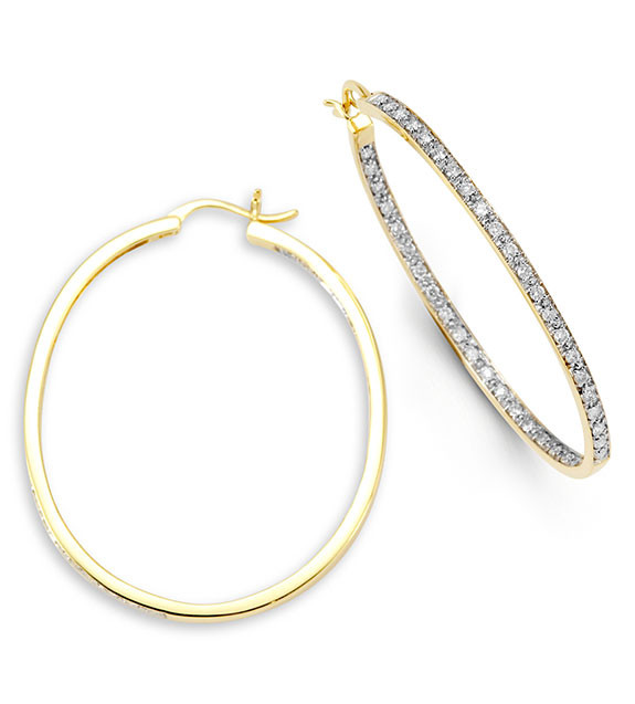 New Large 14k Yellow Gold Round Diamond Hoop Earrings