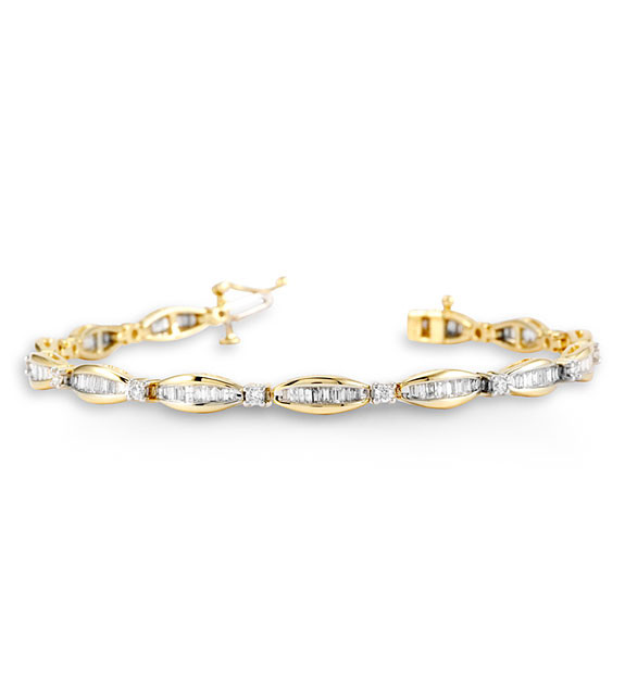 Women s 14K Yellow Gold Round Baguette Diamond Bracelet Diamond