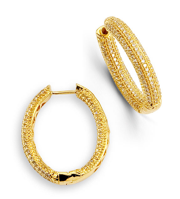 Women S 14k Yellow Gold New Round Diamond Hoop Earrings