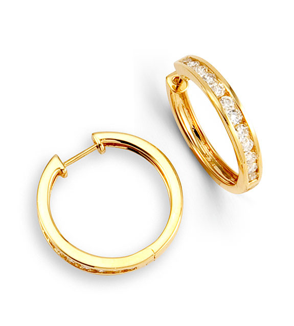 Enchant Her With The Mesmerizing Beauty Of This Diamond Channel Hoop Earrings