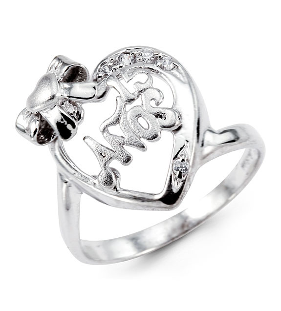 New 14k White Gold 15 Anos Bow Heart CZ Fashion Ring