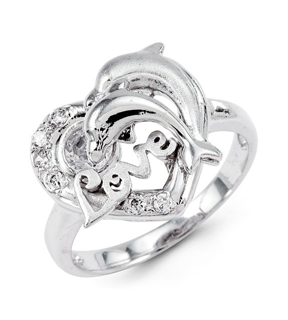 New 14k White Gold Fashion Heart Love CZ Dolphin Ring