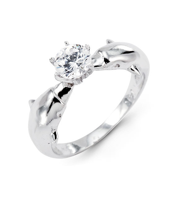 New 14k White Gold Dolphin Round Cut CZ Solitaire Ring