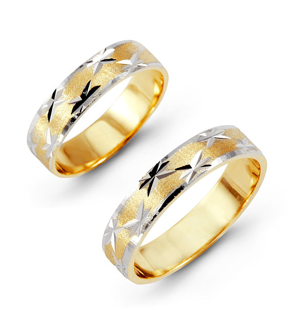 14k Yellow White Gold Bride Groom Ring Wedding Band Set