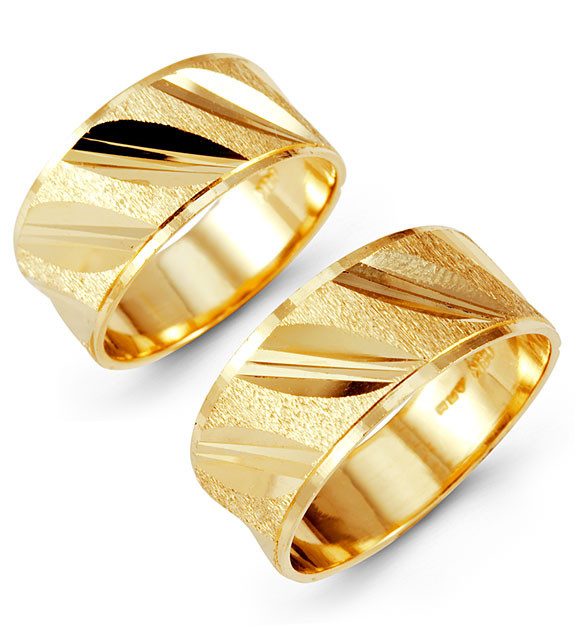 Solid 14k Yellow Gold Slant Etched Wedding Band Set Matching