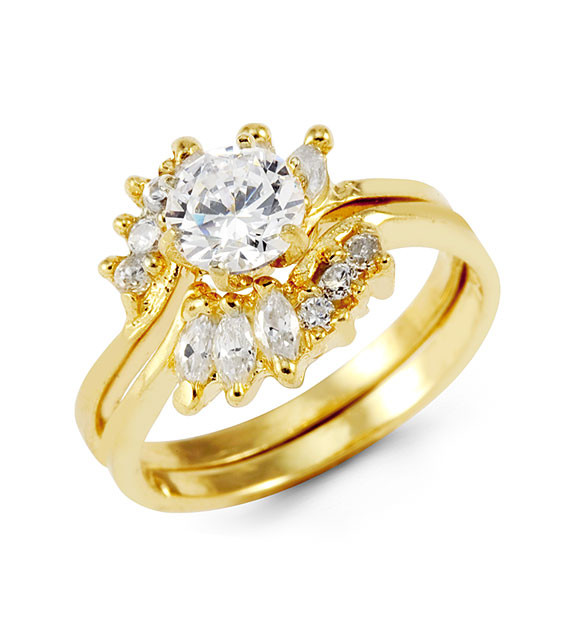 14k Yellow Gold Marquise Round Crown CZ Bride Ring Set Cubic