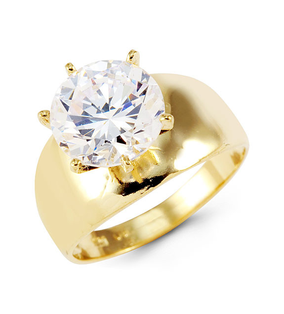 14k Yellow Gold Round CZ Crown Solitaire Ring Cubic
