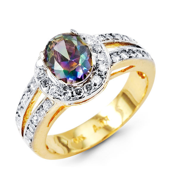 Oval Mystic Fire Topaz 14k Yellow Gold Round Cz Ring