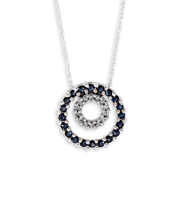 14k white gold sapphire circle diamond pendant necklace gemstone get mozeypictures Image collections