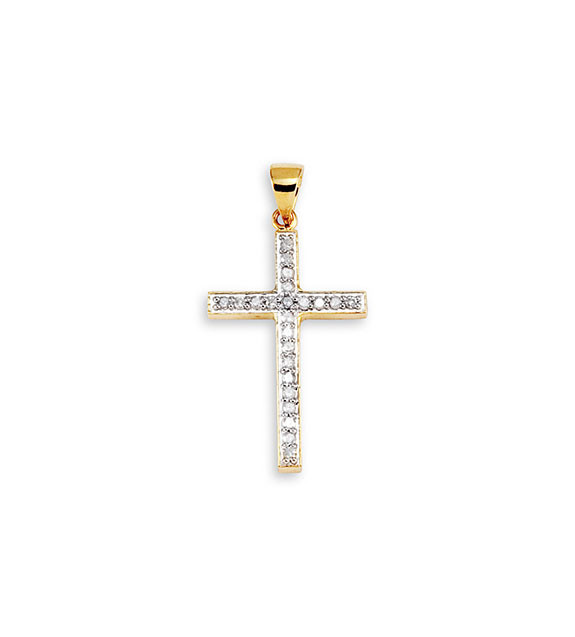 New 14k yellow gold round cut diamond cross pendant religious spread your beliefs when you wear this stunning cross pendant the pendant features yellow gold aloadofball Gallery