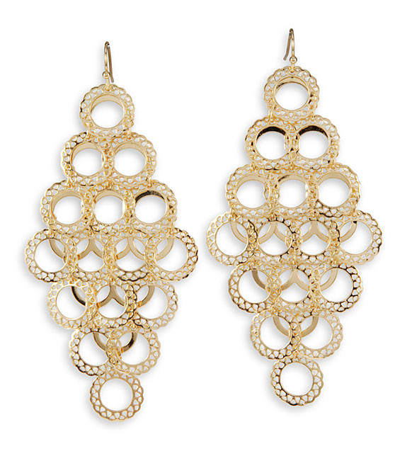 Gold Tone Round Laser Cut Charm Link Dangle Earrings