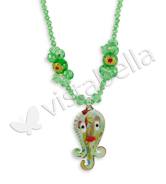 Sea Green Crystal Bead Octopus Glass Beads Necklace ...