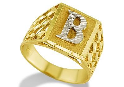 B Letter In Gold Ring this 14k Yellow Gold ring