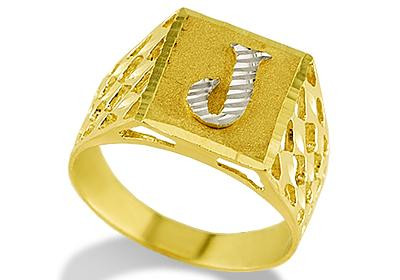 new 14k two tone gold diamond cut letter j initial ring With j letter ring