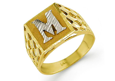 M Letter In Ring Yellow Gold ring crafted