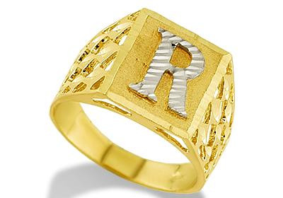 K Letter In Diamond Ring ... Gold Diamond Cut Letter R Initial Ring - Personalized Rings - Rings