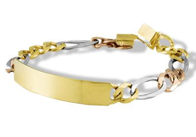 ab44639c868 Mens 14k White Rose Solid Gold Figaro Chain ID Bracelet - Men s ...