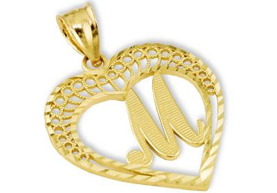 M Letter In Gold 14K Yellow Gold letter M